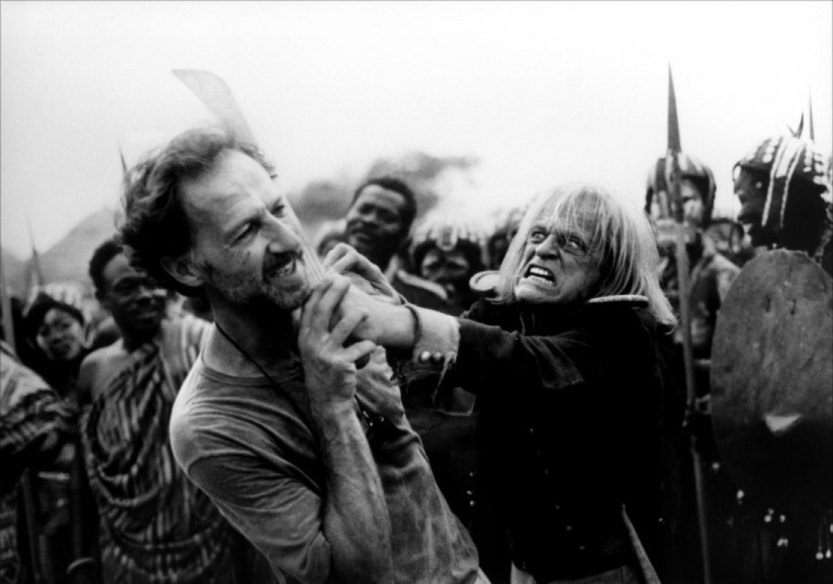 Herzog and Kinski in the middle of one of their infamous on-set battles.