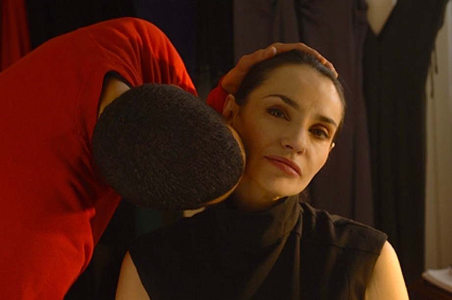 Isaïe Sultan gently kisses his aunt, Beatrice Dalle in Domain, Patric Chiha, 2009. Cinematography | Pascal Poucet