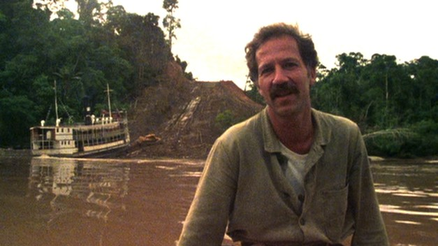 Werner Herzog discusses his worries and concerns as the boat sits stuck at the bottom of the mountain. Burden of Dreams, Les Blank, 1982.