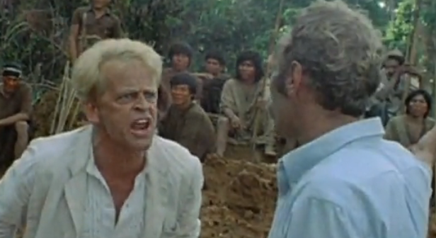Klaus Kinski in one of many rage filled rants at poor Walter Saxer, Production Manager.