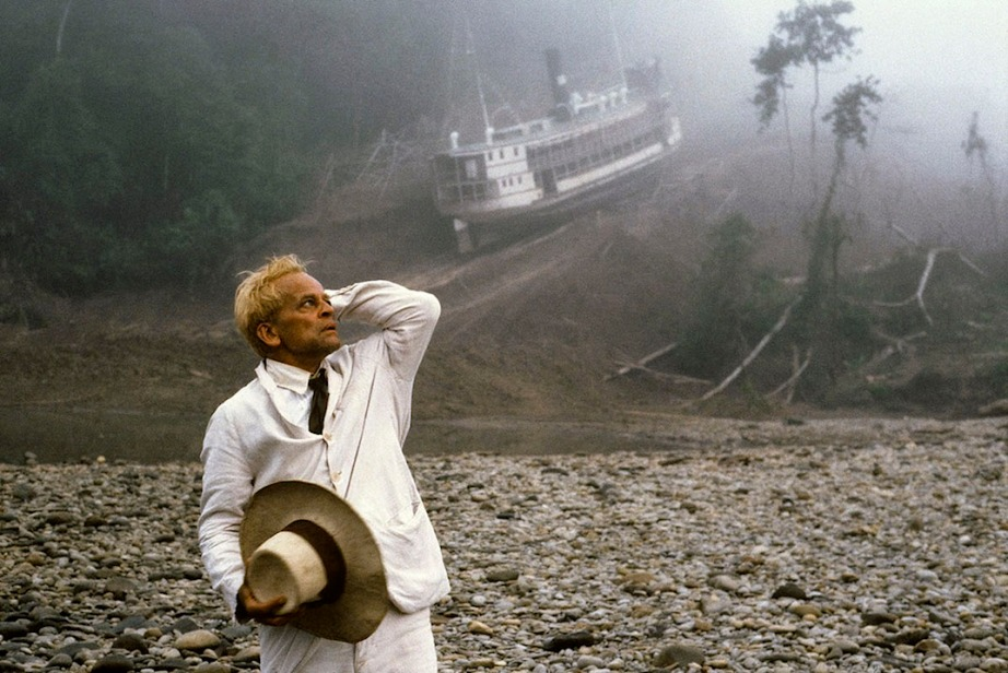 While Fitzcarraldo is a narrative feature film, the feat of pulling of undertaking the task of pulling a boat that size up a mountain was brutally real. Klaus Kinski as Fitzcarraldo, Werner Herzog, 1982. Cinematography | Thomas Mauch