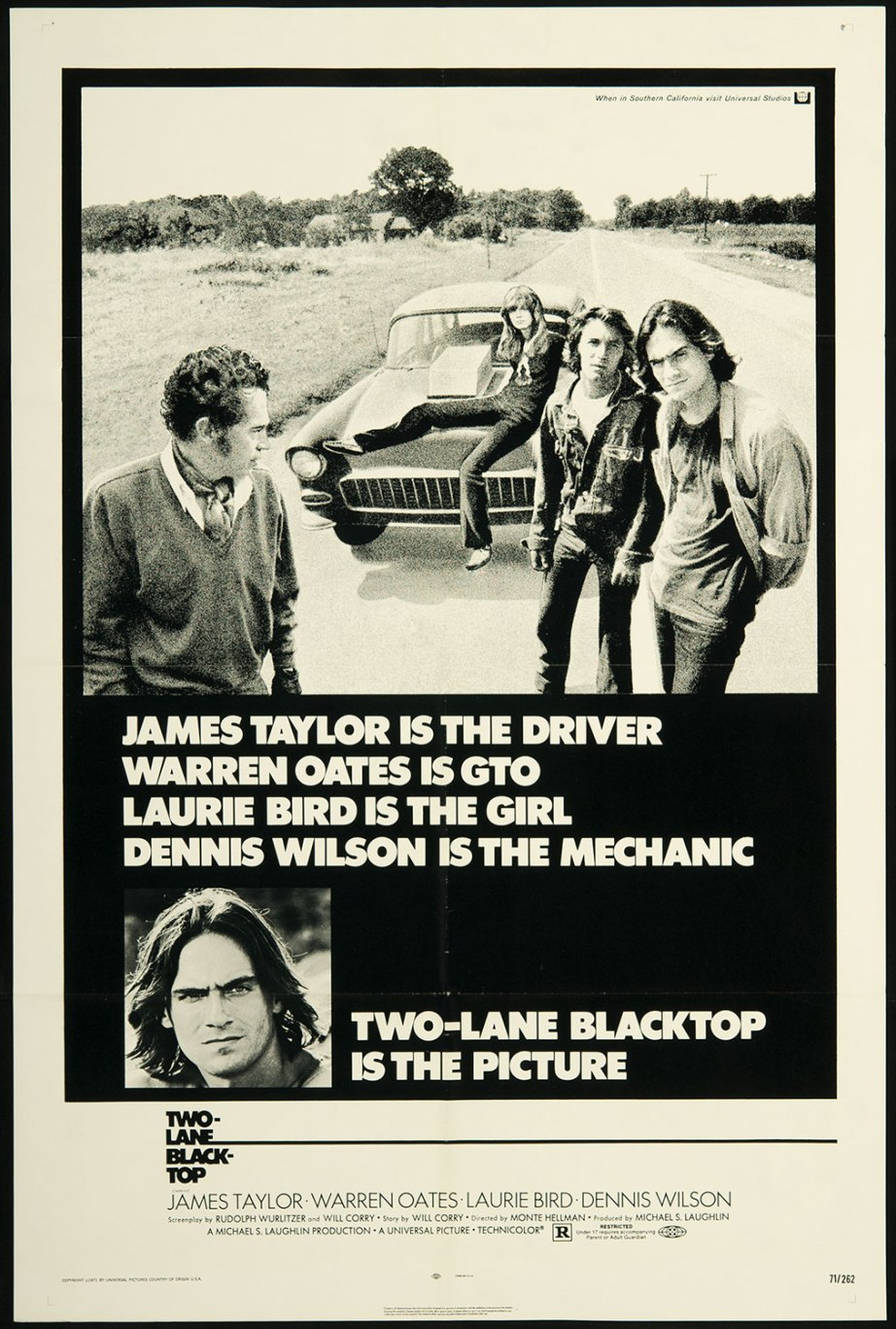 """Well, here we are on the road."" ""Yup, that's where we are all right."" Two-Lane Blacktop Monte Hellman, 1971 Cinematography 