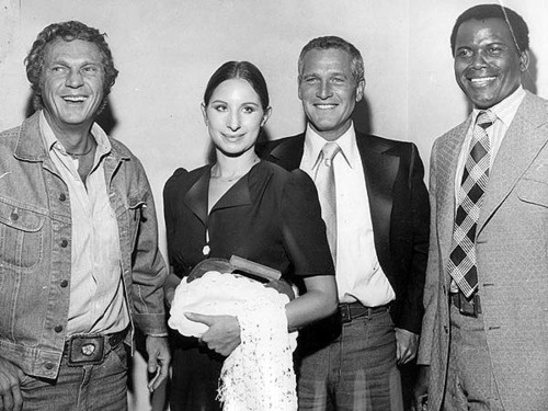 Film Icons McQueen, Streisand, Newman and Poitier join together to form First Artists. Hollywood, 1969.  Photographer | Unknown to me