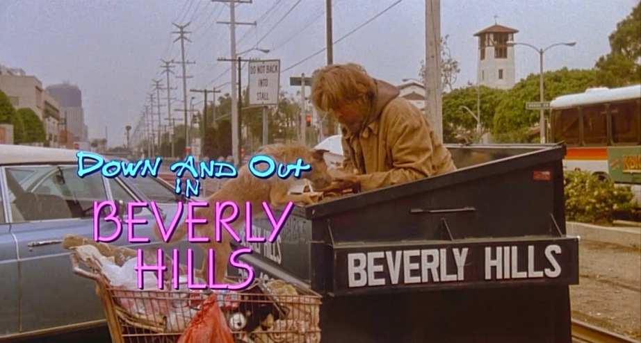 Oh, yeah. This is what the movie is really about! Down and Out in Beverly Hills Nick Nolte feeds his dog. Oh, and himself. Paul Mazursky, 1986 Cinematography | Donald McAlpine