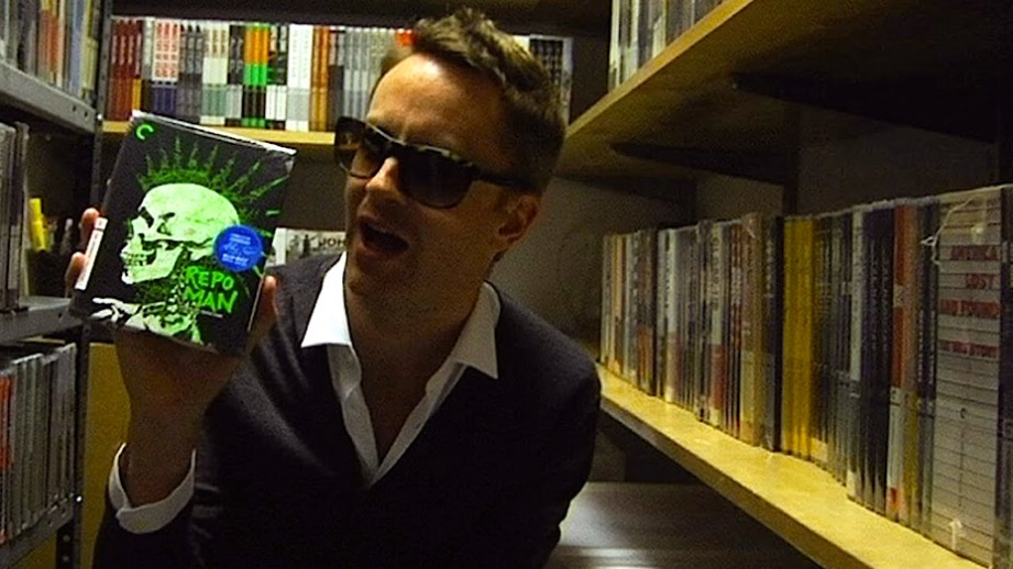 "Nicolas Winding Refn grabs Alex Cox's ""Repo Man"" during his visit to The Criterion Closet.  Criterion, 2013"