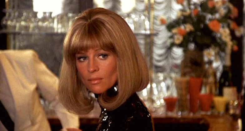 "Julie Christy as Jackie. Her career seems to have stalled. So her hairdresser reminds her of erotic pleasure and gives her new ""do"" to hopes of propelling an image change. While true to late 60's glam, does it not remind you of a certain movie star's early 60's ""do""?  Shampoo Hal Ashby, 1975 Cinematography 