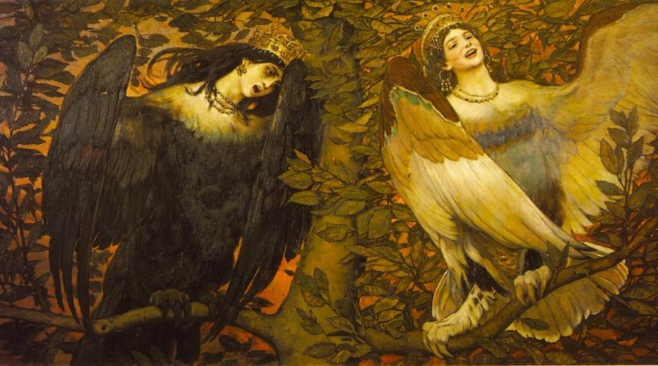 """Sirin and Alkonost, the Birds of Joy and Sorrow"" by Viktor Vasnetsov, 1896 Was thought to have had an impact on Vítězslav Nezval"