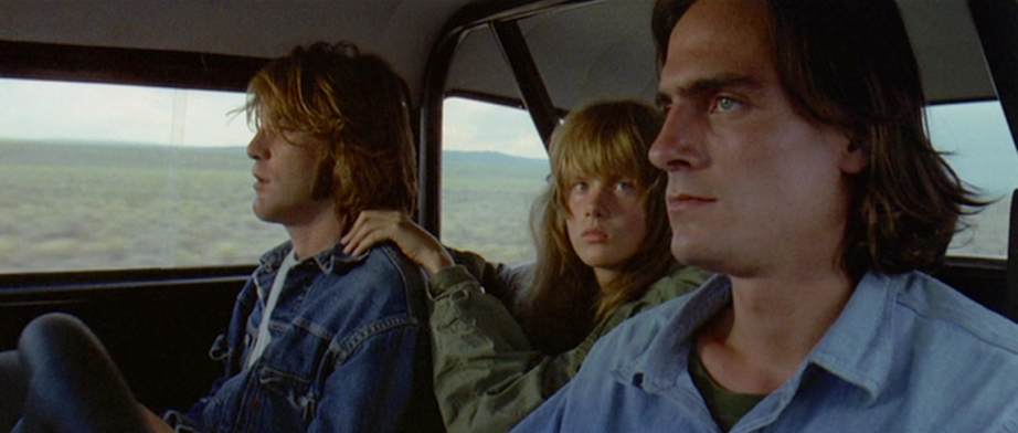 """You can never go fast enough..."" Dennis Wilson, Laurie Bird and Jame Taylor Two-Lane Blacktop Monte Hellman, 1971 Cinematography 