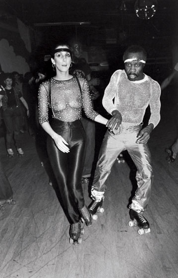 Cher is Disco-Rollin' with un-named friend. The Disco Boobies and the Disco Skating that would inspire a Hollywood Marathon Sprint!  c. 1977 Photographer | Unknown to me