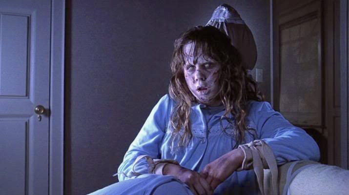 A sweet little girl transformed into murderous and blasphemous monster.  Linda Blair watches her Exorcist die a painful death with a mix of interest and annoyance. She didn't get his soul.  The Exorcist William Friedkin, 1973 Cinematography | Owen Roizman