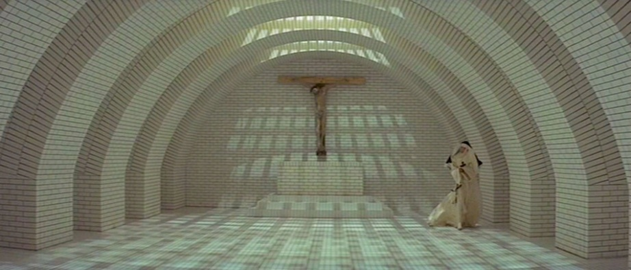 One of many post-modern sets created by then Production Designer, Derek Jarman.  The Devils Ken Russell, 1971 Cinematography | David Watkin