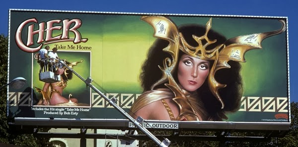 Putting up the Cher Take Me Home billboard.  LA, 1979