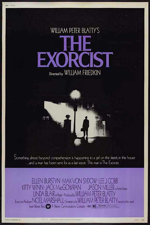 "Eureka! And Warner Brothers creates an iconic marketing campaign by using an ""altered"" shot from the movie itself.  The Exorcist William Friedkin, 1973 Cinematography 