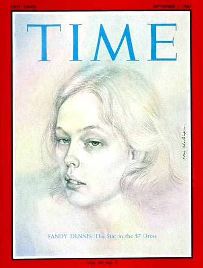 When Broadway still mattered. Sandy Dennis, the star in the $7 dress.  TIME Magazine, 1967 Illustration | Boris Chaliapin