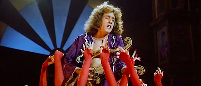 Soothing his audience of demanding female fans... Roger Daltrey as Liszt Lisztomania Ken Russell, 1975 Cinematography | Peter Suschitzky