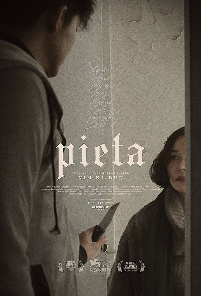 Jung-jin Lee opens the door to the parent, Min-so Jo, who abandoned him with a knife at the ready... Pieta Ki-duk Kim, 2012 Cinematography | Young-jik Jo