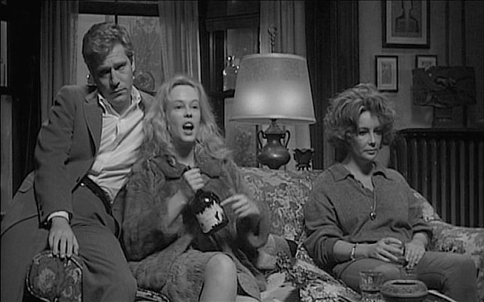"Introducing to the Big Screen: Miss Sandy Dennis ""I peel labels!"" George Segal, Sandy Dennis, Elizabeth Taylor Who's Afraid of Virginia Woolf?  Mike Nichols, 1966 Cinematography 