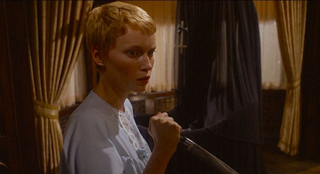 At the ready to attack, but still unsure... Mia Farrow Rosemary's Baby Roman Polanski, 1968 Cinematography | William A. Fraker