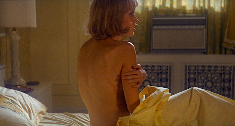 "A sluggish Rosemary says, ""I dreamed someone was raping me. I think it was someone inhuman."" And her husband responds, ""Thanks a lot.""  Mia Farrow Rosemary's Baby Roman Polanski, 1968 Cinematography 