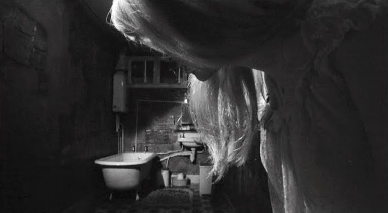 Carol contemplates the dangers of the washroom as perspective continues to warp... REPULSION Roman Polanski, 1965 Cinematography | Gilbert Taylor