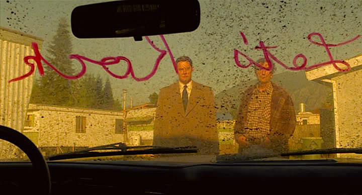 "Special Agent Chester Desmond's abandoned car. ""Let's Rock"" Kyle MacLachlan and Harry Dean Stanton Twin Peaks: Fire Walk With Me David Lynch, 1992 Cinematography 