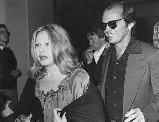 Even Jack Nicholson could be sent running in fear when his sense of humor or pranks pissed off Sue Mengers. Together at a function circa 1974. Photographer unknown to me.