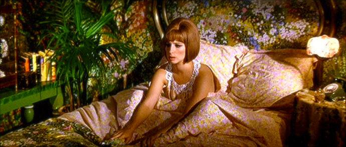 """Get To Sleep!"" ...easier said than done when every piece of clothing you wear matches your garish wallpaper! Barbra Streisand On A Clear Day You Can See Forever Vincente Minnelli, 1970 Cinematography 