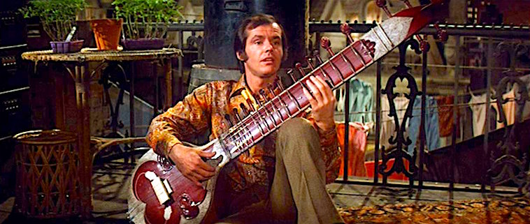 "You can almost smell the weed and sex ooze as Tad attempts to woo Streisand's ""Daisy"" but it is of no use with crappy old Yves Montand's singing demand of ""Come Tu Meeee!"" Jack Nicholson with Big Ass Sitar On A Clear Day You Can See Forever Vincente Minnelli, 1970 Cinematography 