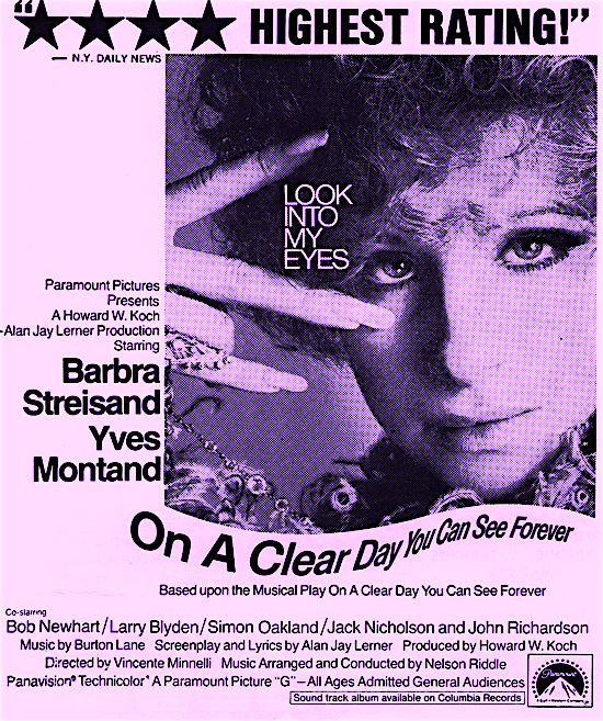 4 Stars!!!! Highest Rating!!! Um, ok... On A Clear Day You Can See Forever Paramount's Look Into My Eyes Marketing Strategy, 1971