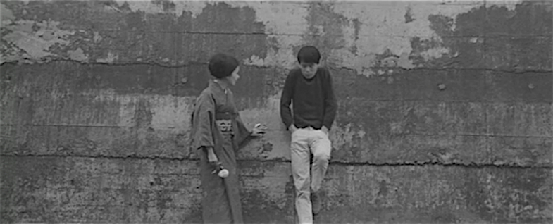 A serious talk outside the compound against that wall... Ruriko Asaoka  Thirst for Love Koreyoshi Kurahara, 1967 Cinematography | Yoshio Mamiya