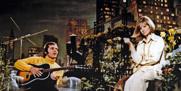 One of several shots out there from the lost footage of the Streisand/Nicholson duet musical scene Jack Nicholson & Barbra Streisand On A Clear Day You Can See Forever Vincente Minnelli, 1970