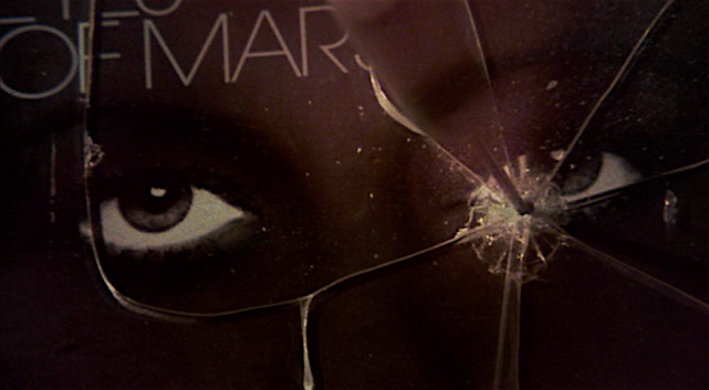 The killer probes the ice pick into Laura's eye on the cover of her slick new book of KINK. Eyes of Laura Mars Irvin Kershner, 1978 Cinematography | Victor J. Kemper