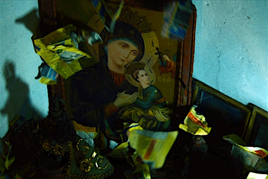 Or maybe The Criminal is hiding his love's face from The Madonna who sits in the corner of the room... Ruined Heart KHAVN, 2014 Cinematography | Christopher Doyle