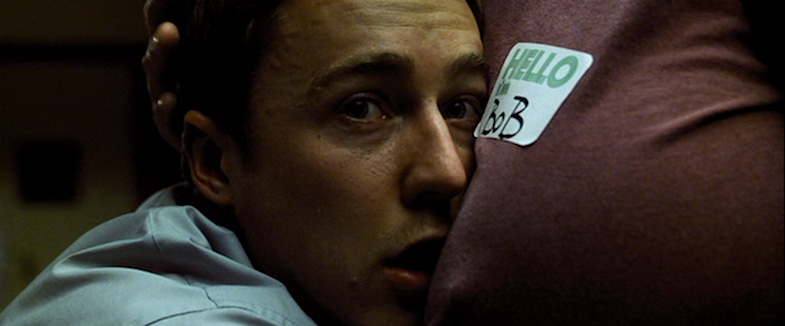 The Narrator is unreliable, but Bob offers comfort. Edward Norton & Meat Loaf Fight Club David Fincher, 1999 Cinematography | Jeff Cronenweth