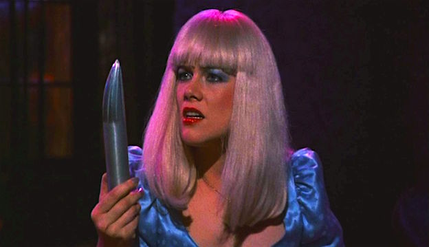 """Is this a cruise missile or a Pershing?"" Kathleen Turner as China Blue inspecting The Dildo of Death. Crimes of Passion Ken Russell, 1984 Cinematography 