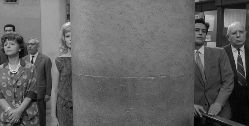 There is a great more between these two lovers than a structural support column. Michelangelo Antonioni, 1962 Cinematography | Gianni Di Venanzo