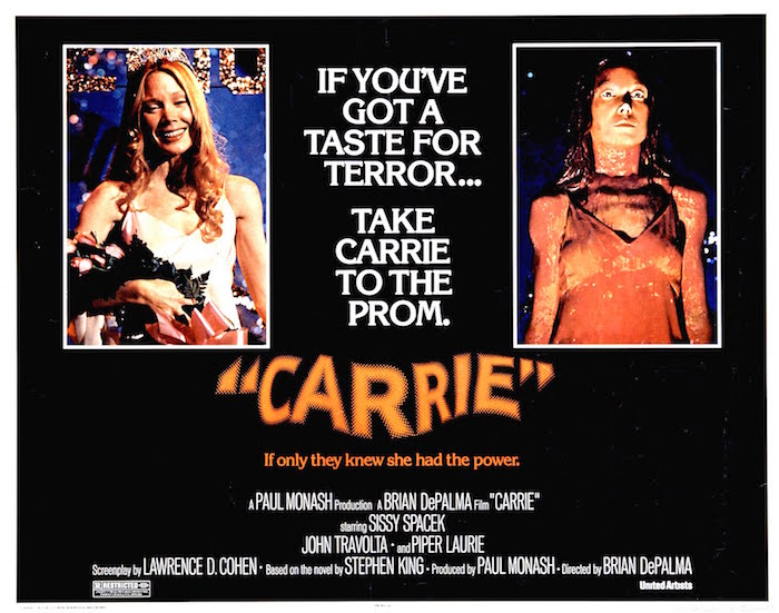 """Take her to the prom. I dare you!"" Released in 1976, but I saw it in 1977. CARRIE Brian De Palma, 1976"