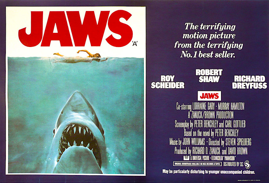 I'm certain I was not the only child to be taken to see this. Swimming at the beach or even in pools would never be the same. JAWS Steven Spielberg, 1975