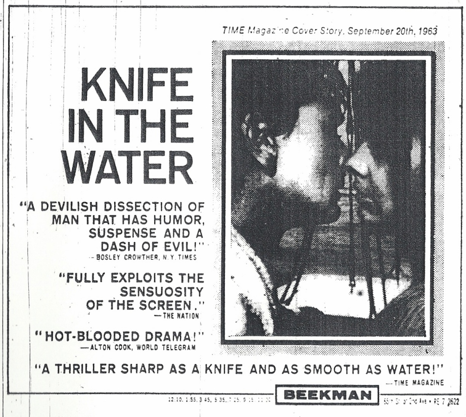 Playing at The Beekman! Knife in the Water Roman Polanski, 1962