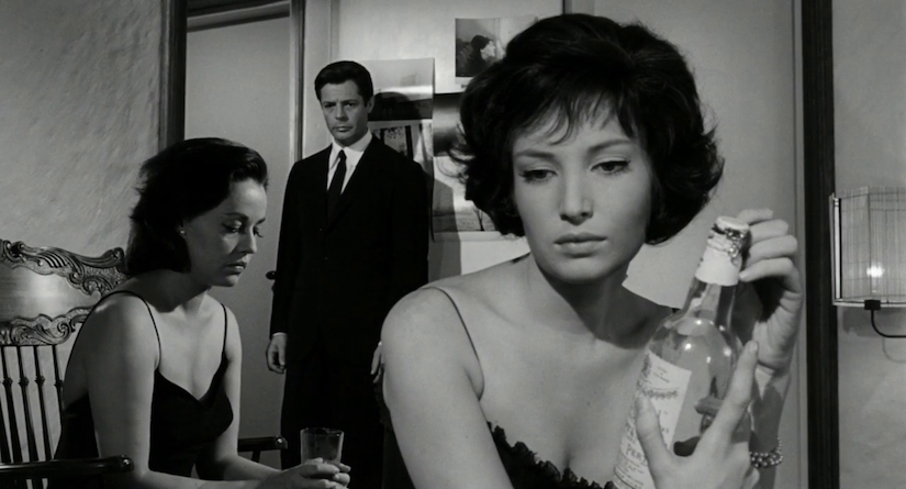 Jeanne Moreau and Marcello Mastroianni fail to connect. Monica Vitti listens in... La Notte Michelangelo Antonioni, 1961 Cinematography | Gianni Di Venanzo