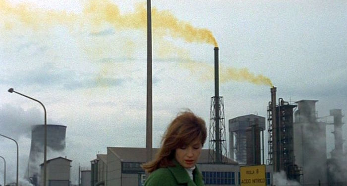 Monica Vitti takes a walk in a post-industrial nightmare. Red Desert Michelangelo Antonioni, 1964 Cinematography | Carlo Di Palma