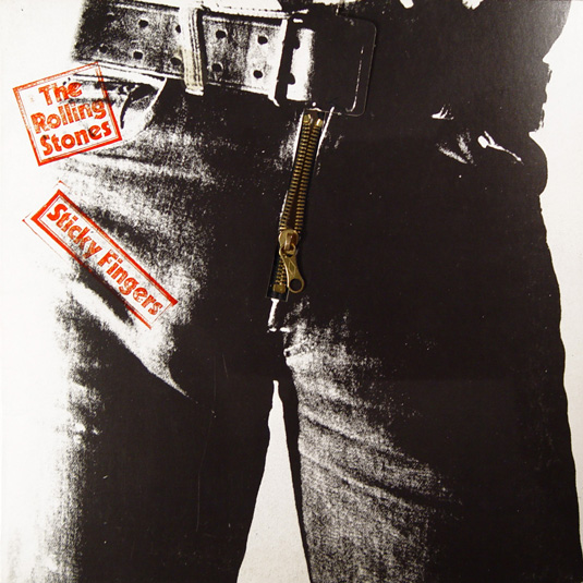 Uh, oh! Is that Mick or Little Joe Dallesandro hiding behind the zipper? The Rolling Stones Sticky Fingers, 1971