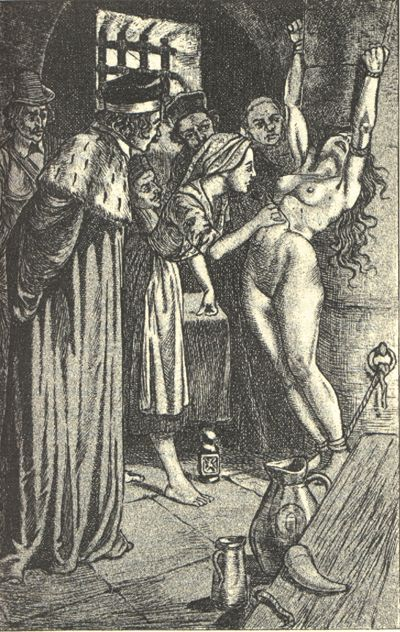 An impoverished woman doesn't quite fit into her community is to be judged as an Evil Witch. Illustration by Martin van Maele from Jules Michelet La Sorcière, 1911 Edition.